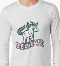 Retro Kawaii Cute Unicorn Believe Geek Design Long Sleeve T-Shirt