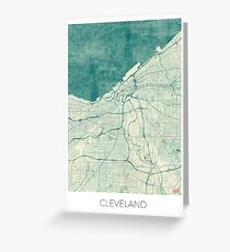 Cleveland Map Blue Vintage Greeting Card