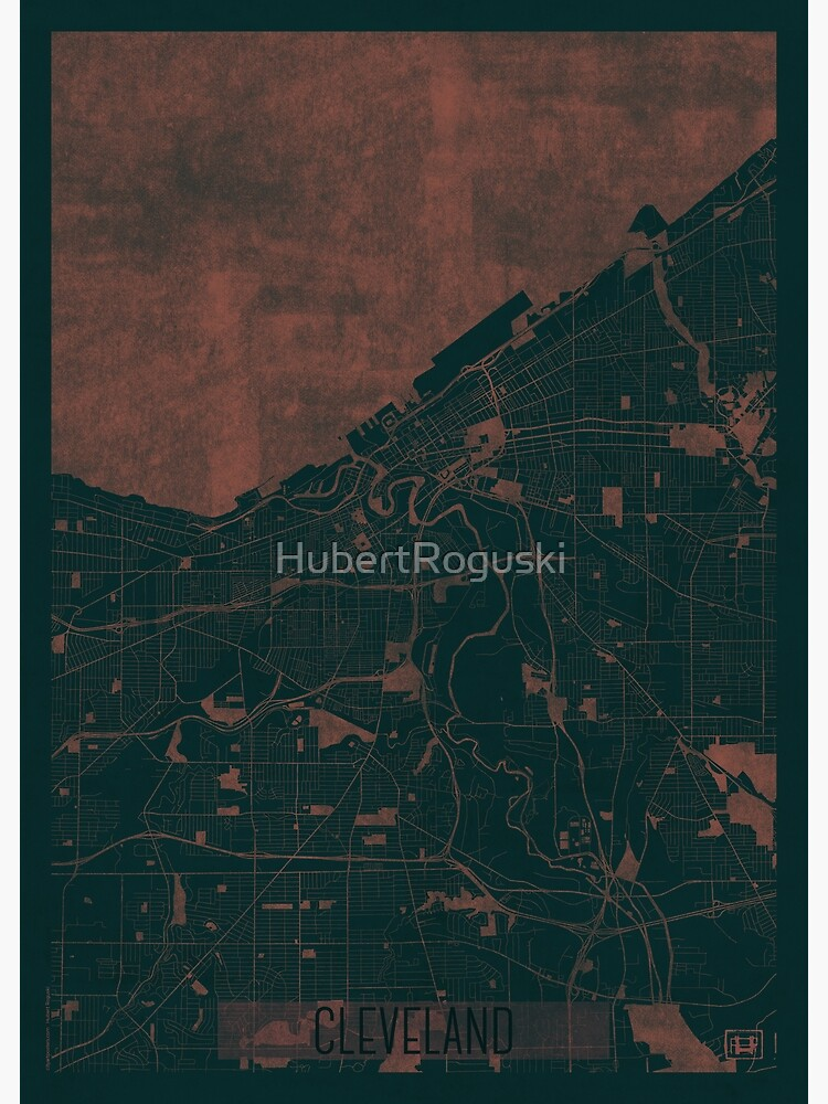 Cleveland Map Red by HubertRoguski