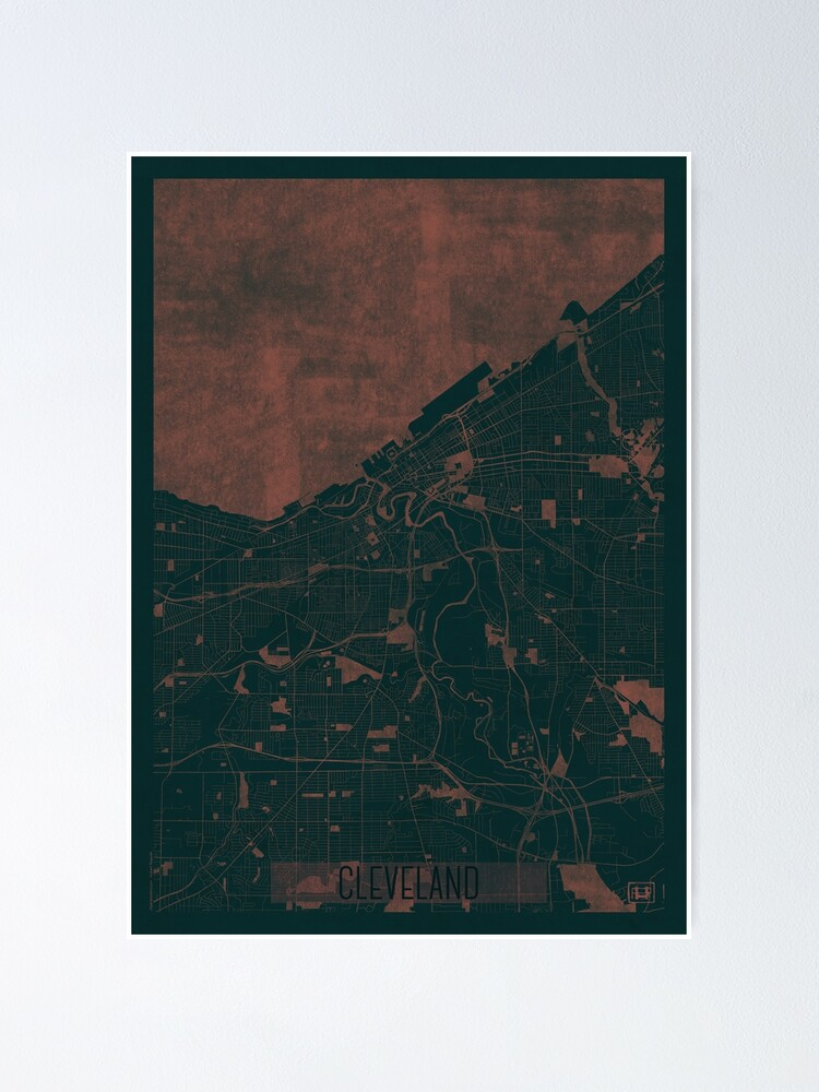 Alternate view of Cleveland Map Red Poster