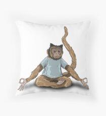 Yoga Monkey Throw Pillow