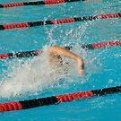 Swimmer power waves capture during a swim meet Troy H.S. Fullerton, CA 4-5-2005 by leih2008