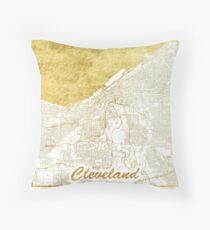Cleveland Map Gold Throw Pillow