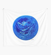 Acryl Pour mit Zellen blau 6717 Wandbehang