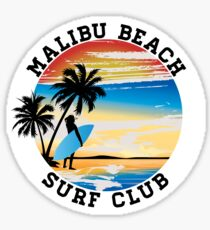 Malibu Beach Surf Club California Surfer Surfing Ocean Sticker