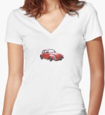Little red Beetle  Women's Fitted V-Neck T-Shirt