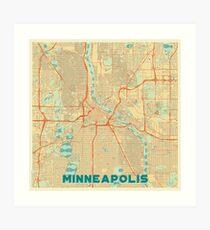 Minneapolis Map Retro Art Print