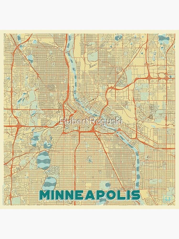 Minneapolis Map Retro by HubertRoguski
