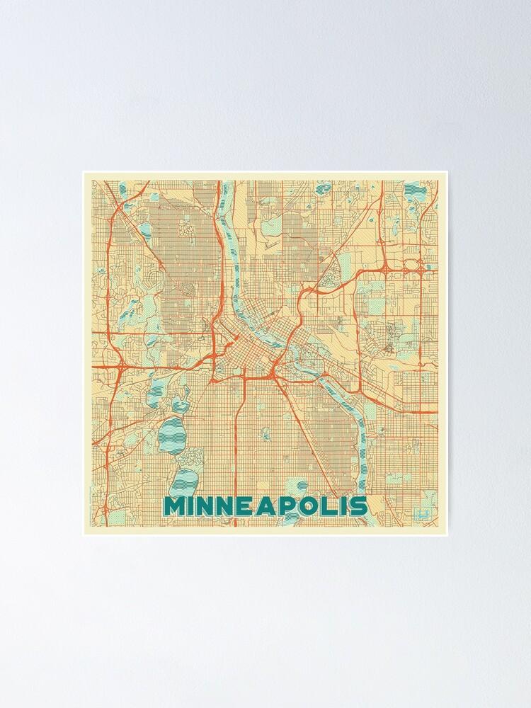 Alternate view of Minneapolis Map Retro Poster