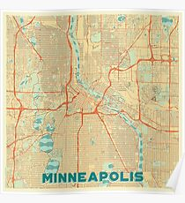 Vintage Minneapolis Map Posters Redbubble - Vintage minneapolis map