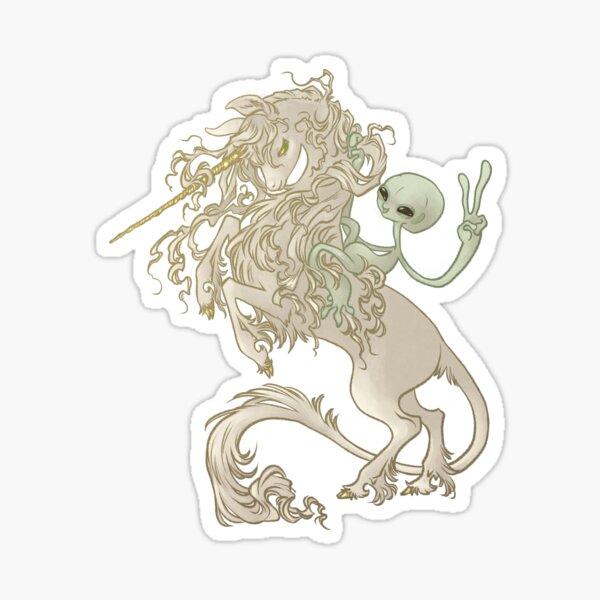 Alien Riding Unicorn Sticker