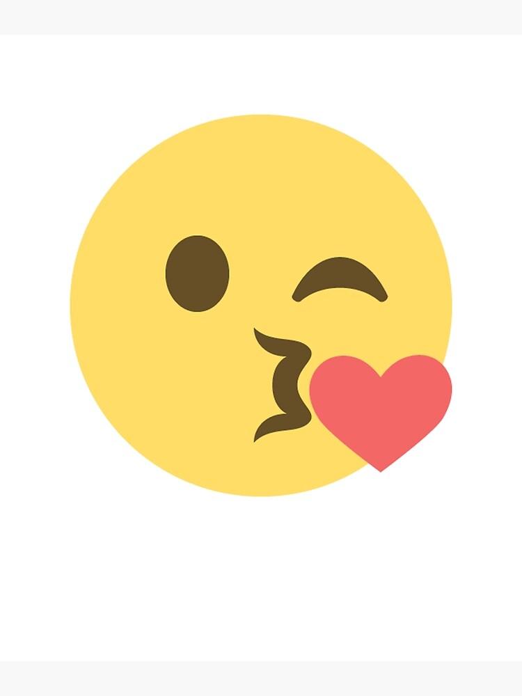 Emoji Kuss Wink Herz weht Kiss Emoji Poster von