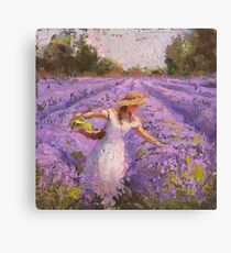 Lienzo Mujer escogiendo lavanda en un campo con un vestido blanco - Lady Lavender - Plein Air Painting