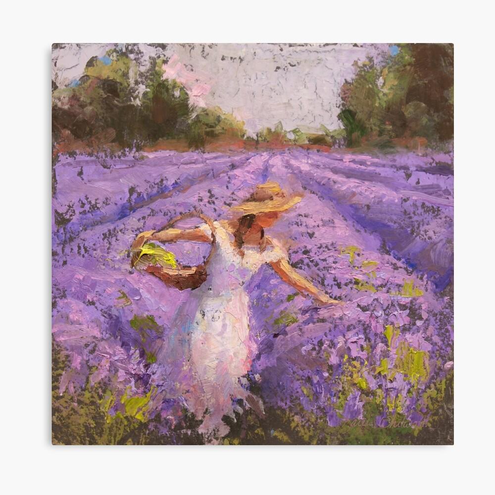 Mujer escogiendo lavanda en un campo con un vestido blanco - Lady Lavender - Plein Air Painting Lienzo