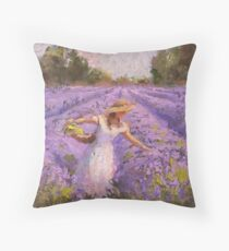 Woman Picking Lavender In A Field In A White Dress - Lady Lavender - Plein Air Painting Throw Pillow
