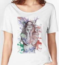 The Withering Spring: Wine (nude tattoo woman, magnolia street art drawing) Women's Relaxed Fit T-Shirt