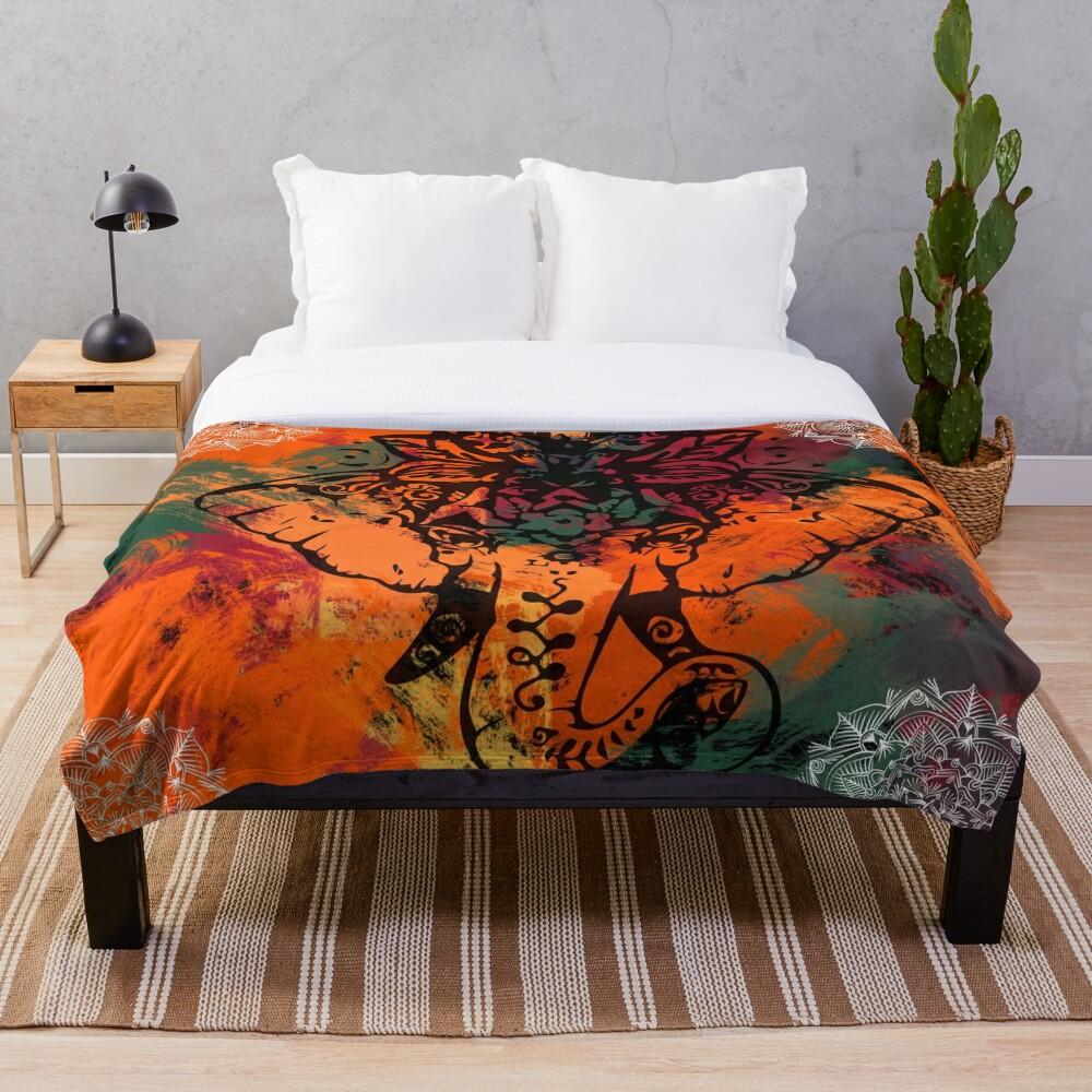 Elephant Mandala Throw Blanket
