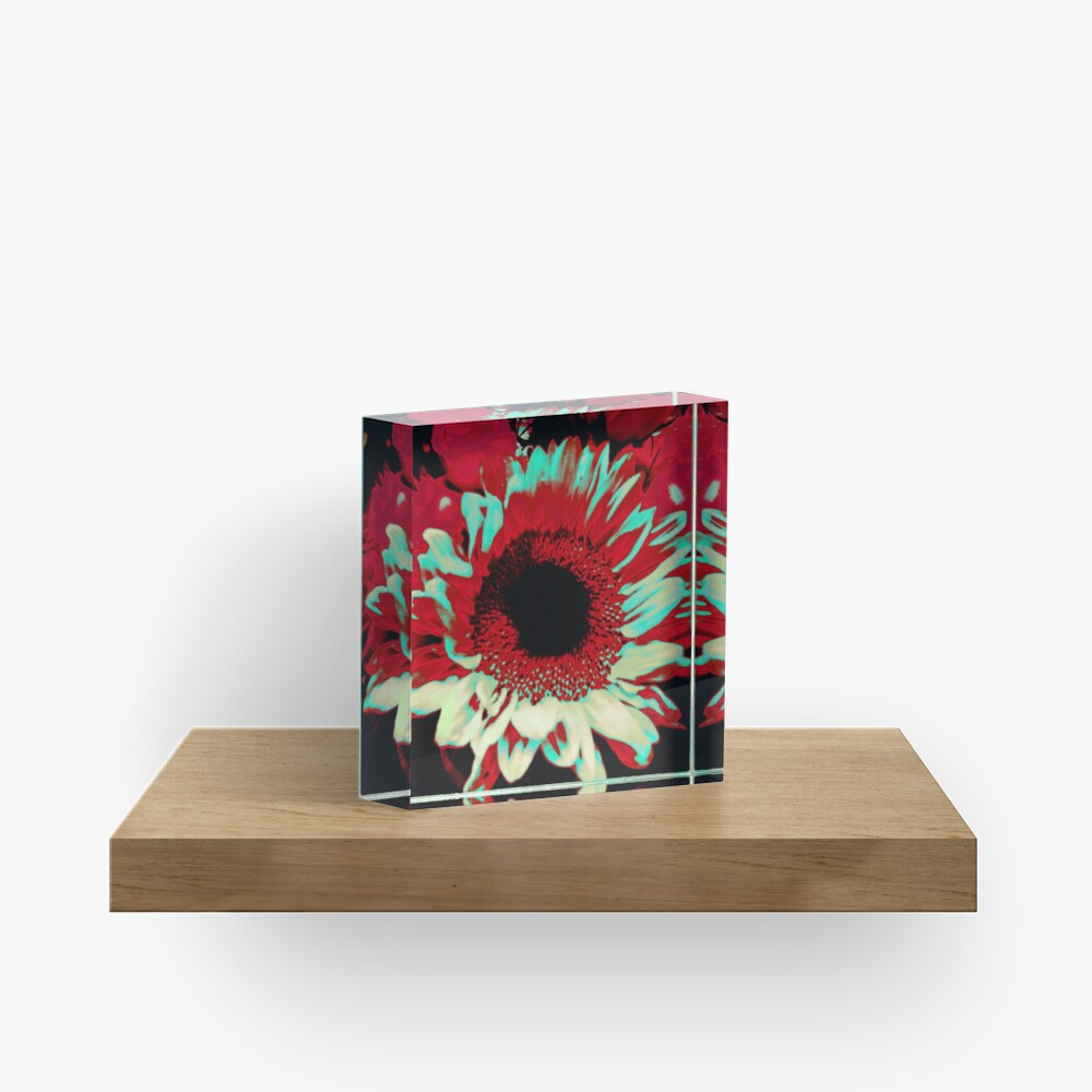 Bright Floral - Fiery Sunflower Design Acrylic Block
