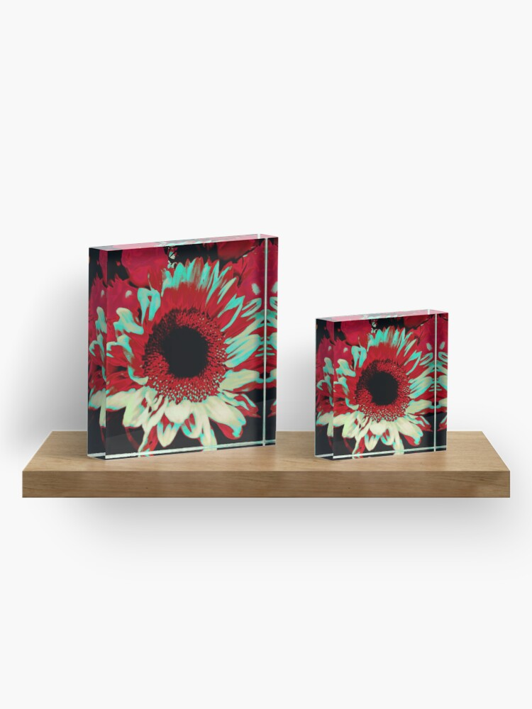 Alternate view of Bright Floral - Fiery Sunflower Design Acrylic Block