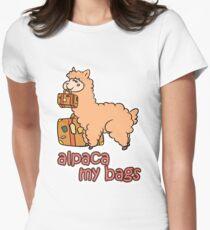 Kawaii Cute Anime Alpaca My Bags Geek Humor Design Womens Fitted T-Shirt