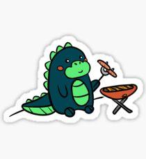 Kawaii Cute BBQ Dragon Dino Humor Geek Design Sticker