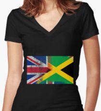 British Jamaican Half Jamaica Half UK Flag Women's Fitted V-Neck T-Shirt
