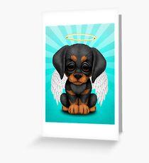 Cute Doberman Pincer Puppy Angel Greeting Card
