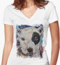 Pit Bull Puppy Women's Fitted V-Neck T-Shirt