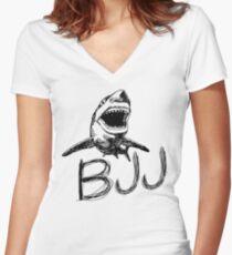 BJJ Shark Jiu Jitsu Women's Fitted V-Neck T-Shirt