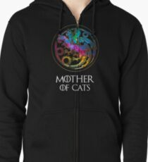 Aurora Mother Of Cats Logo Zipped Hoodie
