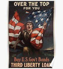WW1 Propaganda Poster - Patriotic U.S. Government Bonds Design Poster