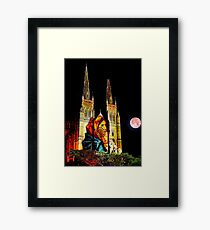 Mother Mary with baby Jesus watches the moon - St Mary's Framed Print