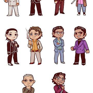 yakuza 0 character sticker sheet by 1000butts