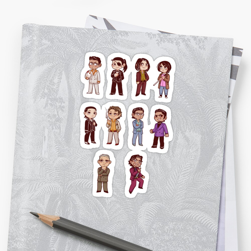 Quot Yakuza 0 Character Sticker Sheet Quot Sticker By 1000butts