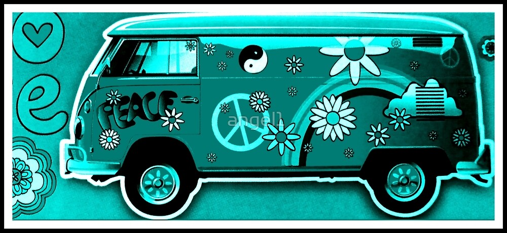 Flower Power Camper turquoise by ©The Creative  Minds