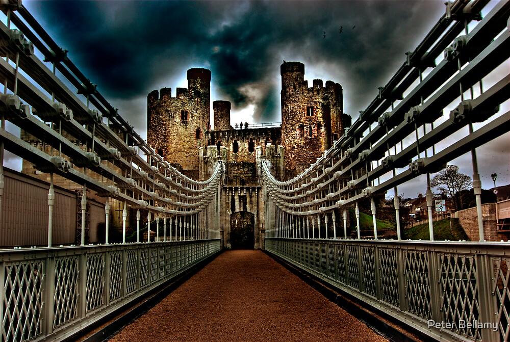 Conwy Castle Suspension Bridge by Peter Bellamy