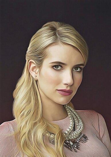 Emma Roberts - Celebrity (Oil Paint Art) by MOSAICART