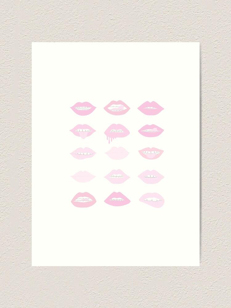 Alternate view of pink and blush lipstick lips Art Print