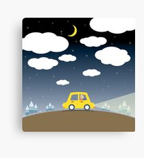 Driving Car At Night Canvas Print