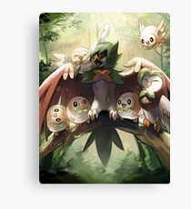 Decidueye Familia con Rowlet y Dartrix / Decidueye's Family with Rowlet and Dartrix Canvas Print