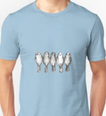 Five gray birds on a wire T-Shirt