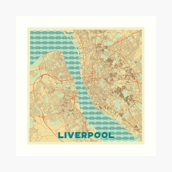 Liverpool Map Retro Art Print