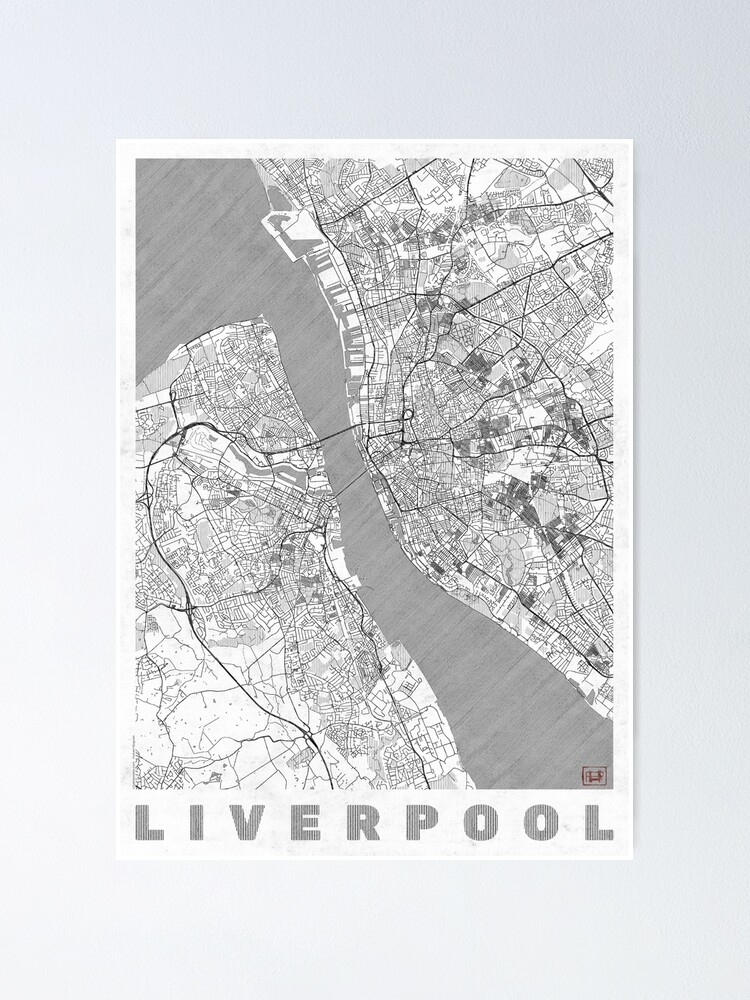 Alternate view of Liverpool Map Line Poster