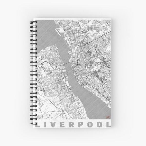 Liverpool Map Line Spiral Notebook