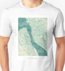 Liverpool Map Blue Vintage Unisex T-Shirt