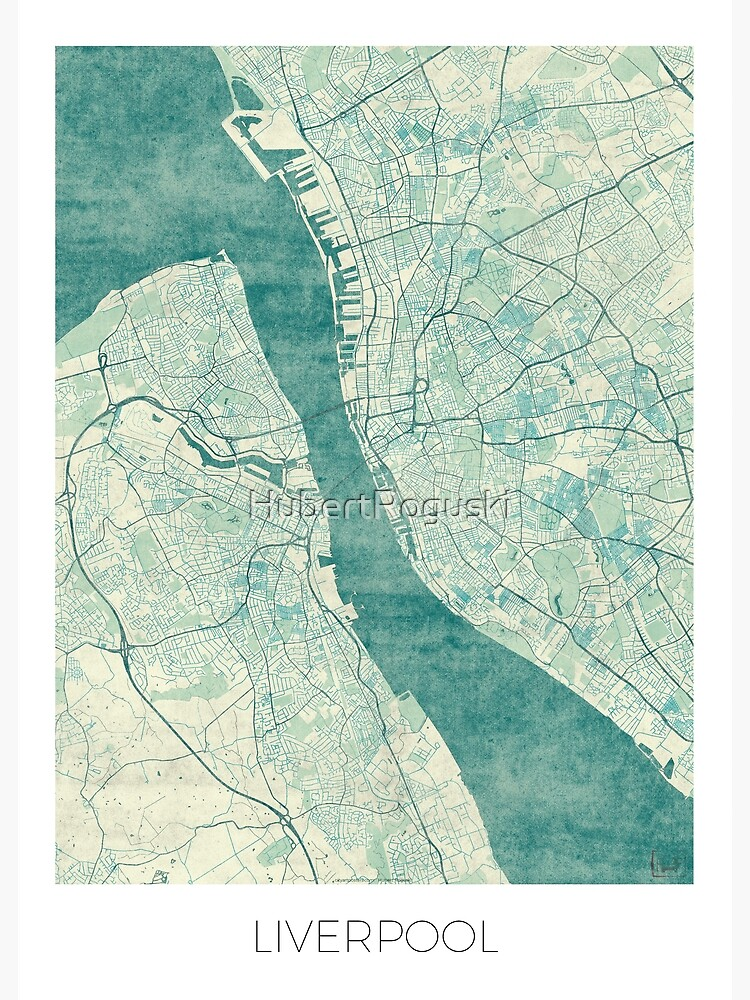 Liverpool Map Blue Vintage by HubertRoguski
