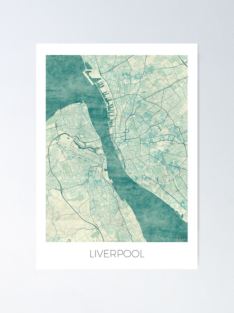 Alternate view of Liverpool Map Blue Vintage Poster