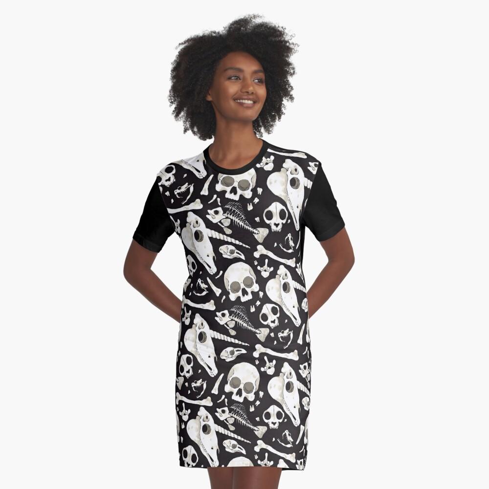 black Skulls and Bones - Wunderkammer Graphic T-Shirt Dress