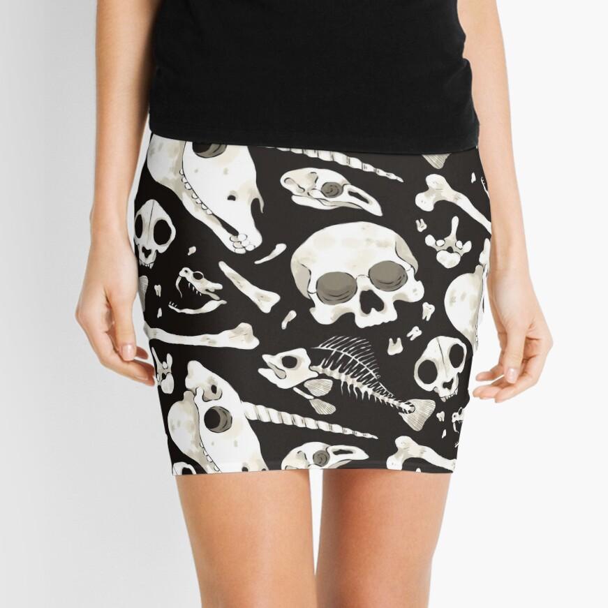 black Skulls and Bones - Wunderkammer Mini Skirt