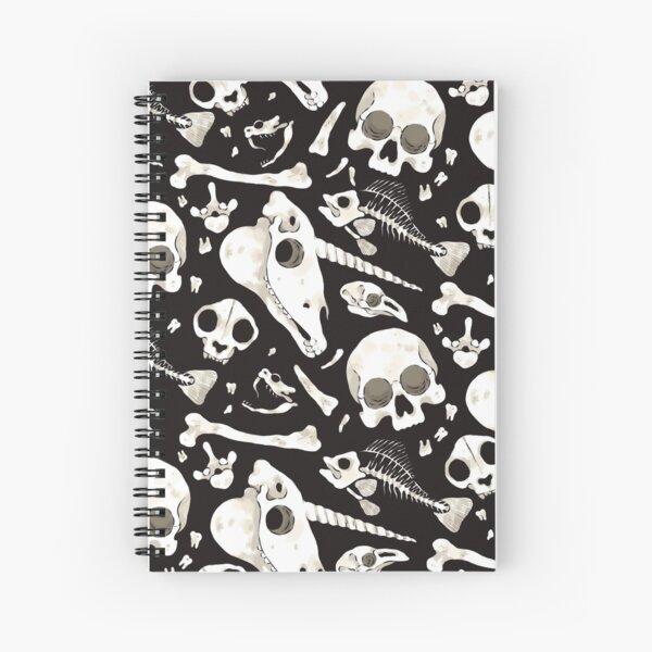 black Skulls and Bones - Wunderkammer Spiral Notebook